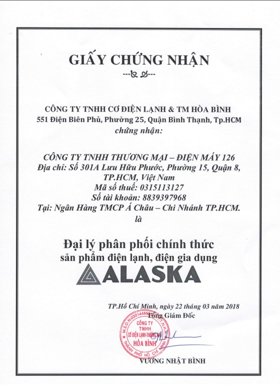 Chứng Nhận Phân Phối ALASKA