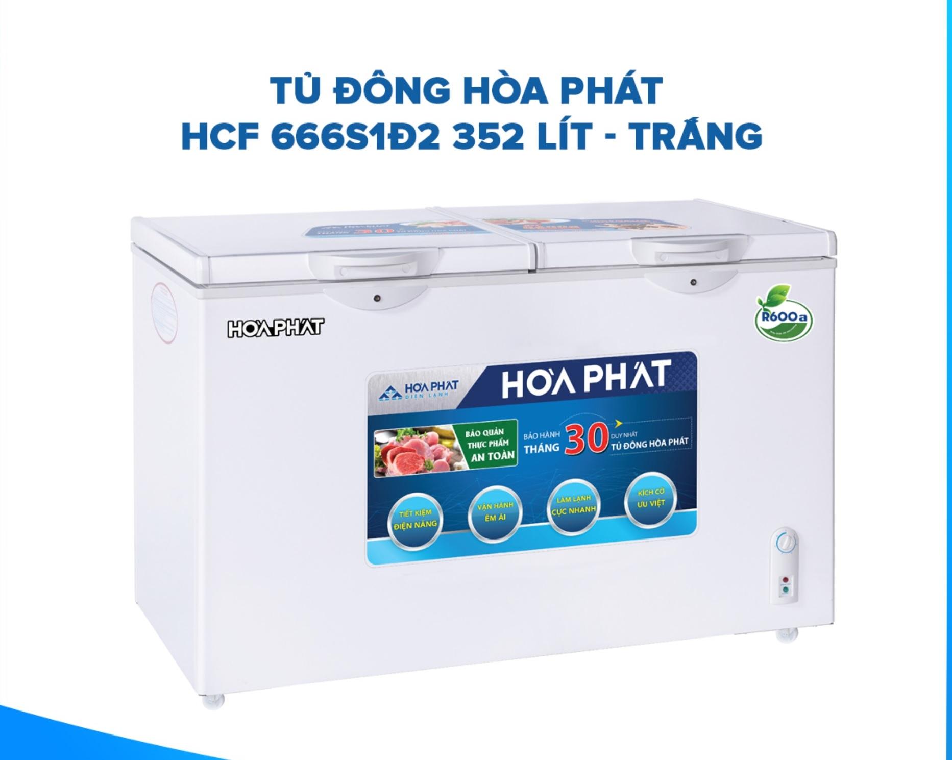 TỦ ĐÔNG HÒA PHÁT 352 LÍT HCF-666S1PĐ2 ĐỒNG R600A
